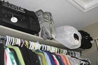 Storing out-of-season clothing in empty suitcases