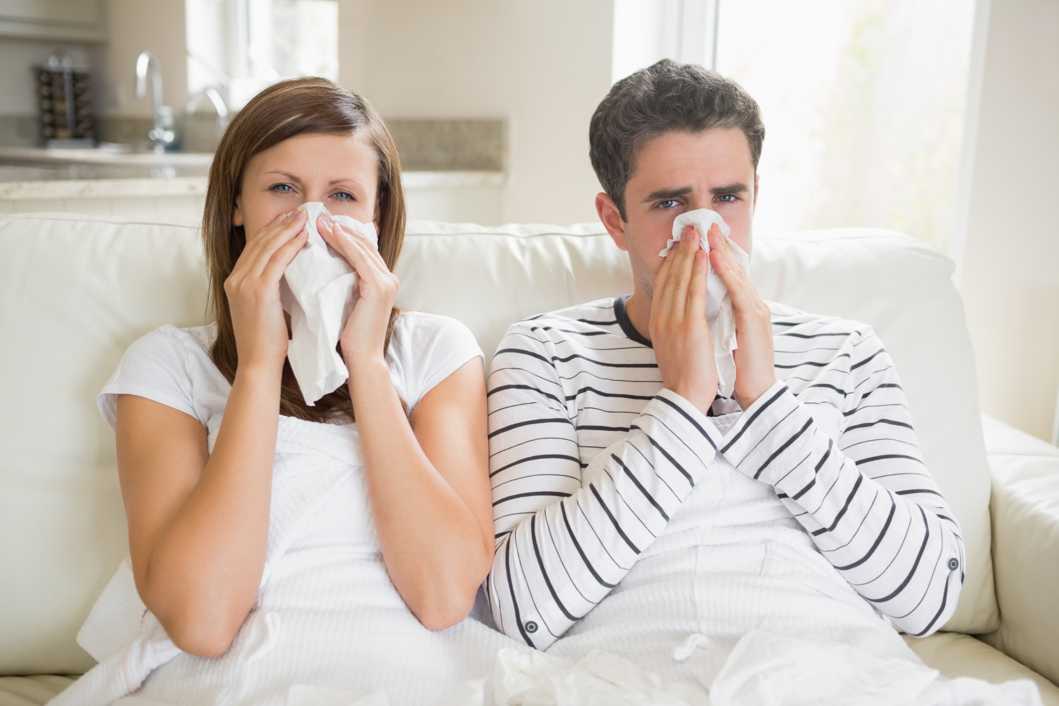 Man and woman getting  sick